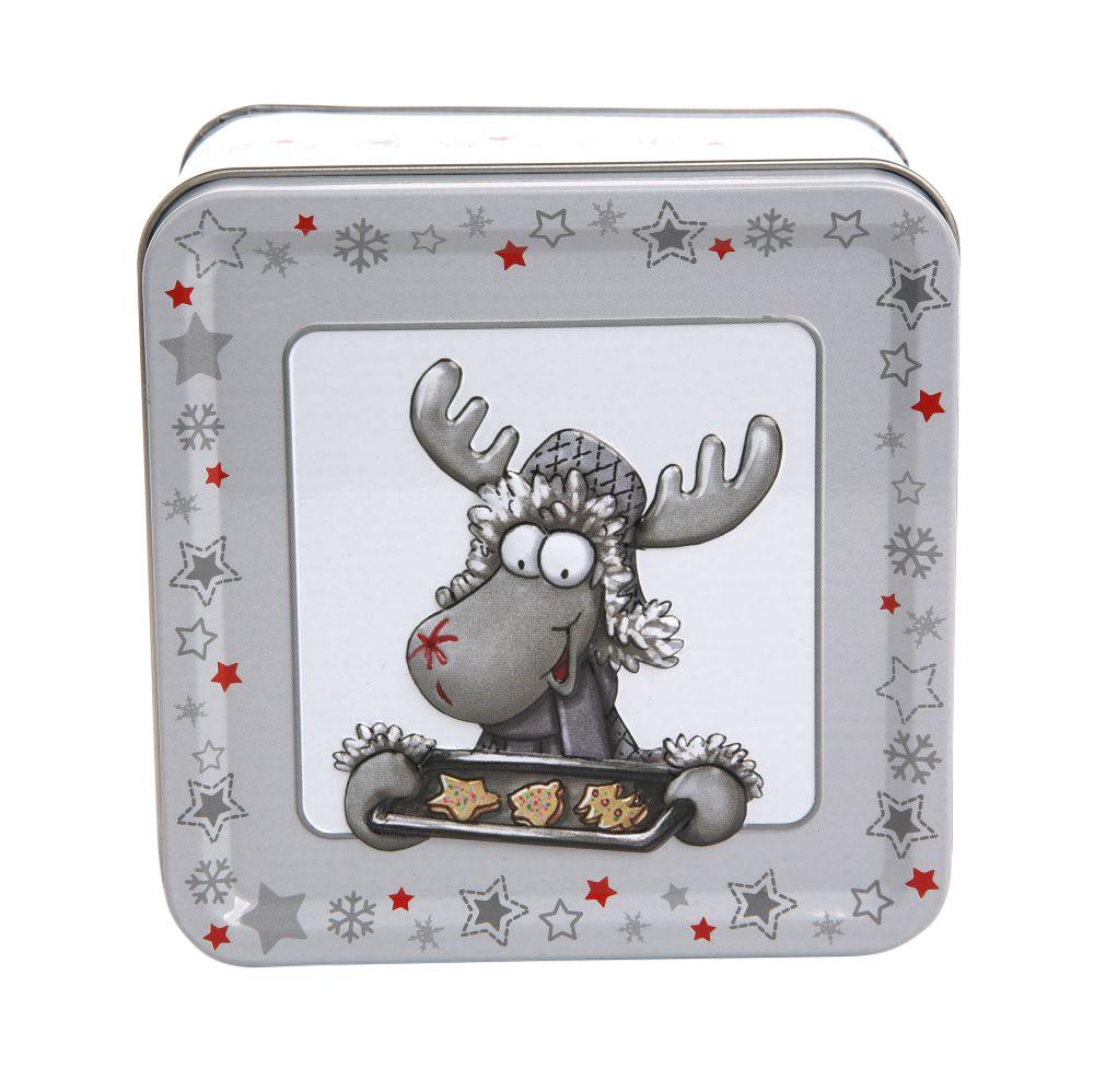 Puszka metalowa na pierniki / ciastka świąteczna Boże Narodzenie Altom Design Zimowe Skrzaty dek. II 7x10,5 cm