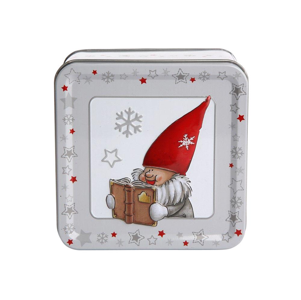 Puszka metalowa na pierniki / ciastka świąteczna Boże Narodzenie Altom Design Zimowe Skrzaty dek. III 7x10,5 cm