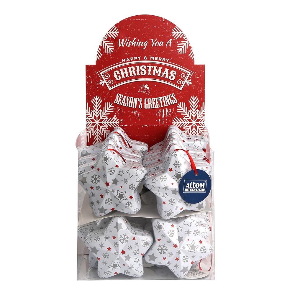 Lanyard mini, star tin box 9,9x9,5x4,3  cm  white christmas grey stars design, matt finish