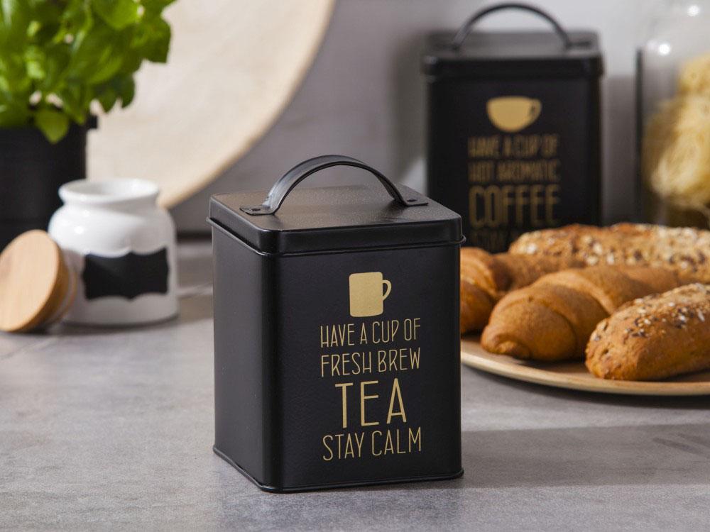 Puszka / Pojemnik do przechowywania metalowy Altom Design Matowa / Złote Napisy Tea 11x14 cm