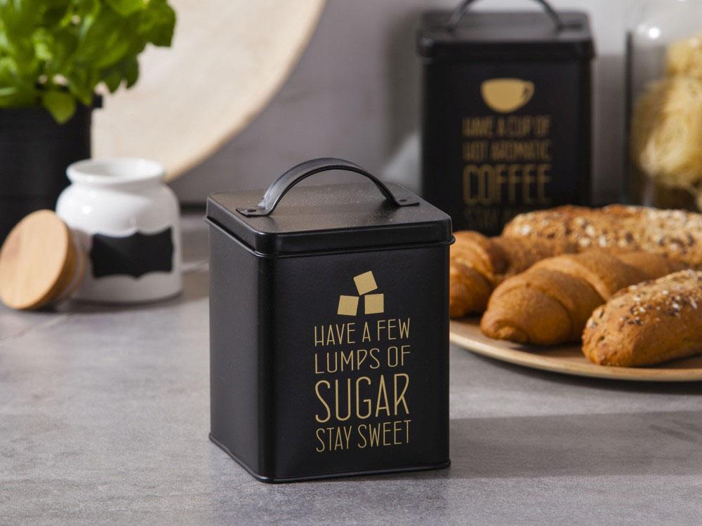 Puszka / Pojemnik do przechowywania metalowy Altom Design Matowa / Złote Napisy Sugar 11x14 cm