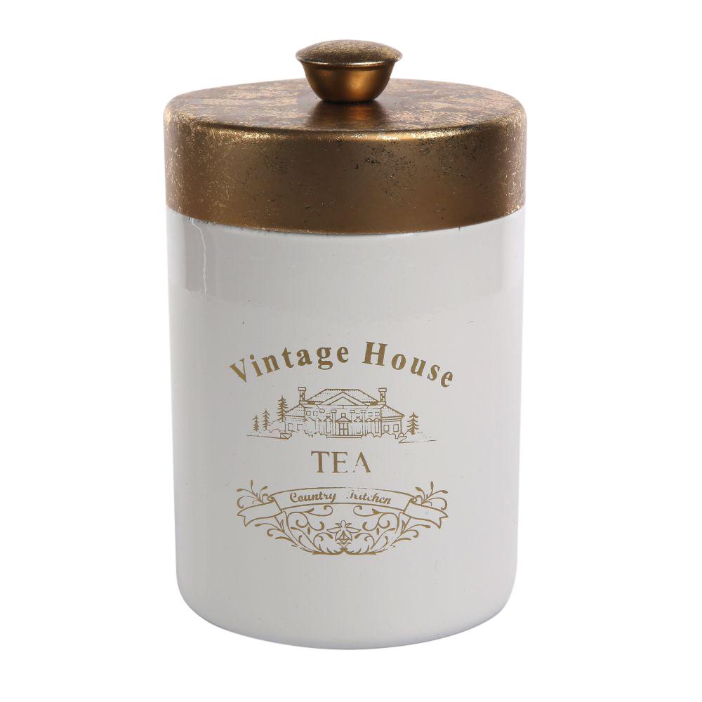 Puszka / pojemnik do przechowywania ze złotą pokrywką okrągłą Altom Design Tea 9x11,5 cm