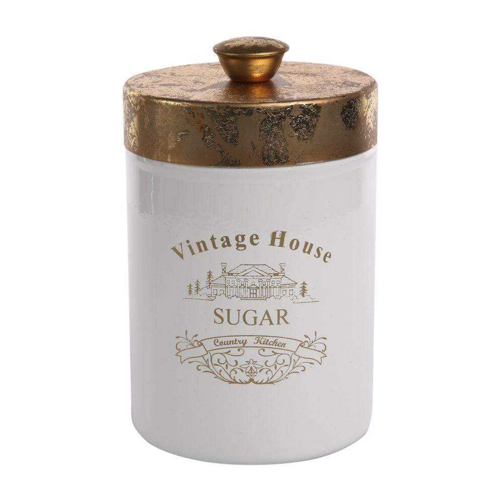 Puszka / pojemnik do przechowywania ze złotą pokrywką okrągłą Altom Design Sugar 9x11,5 cm