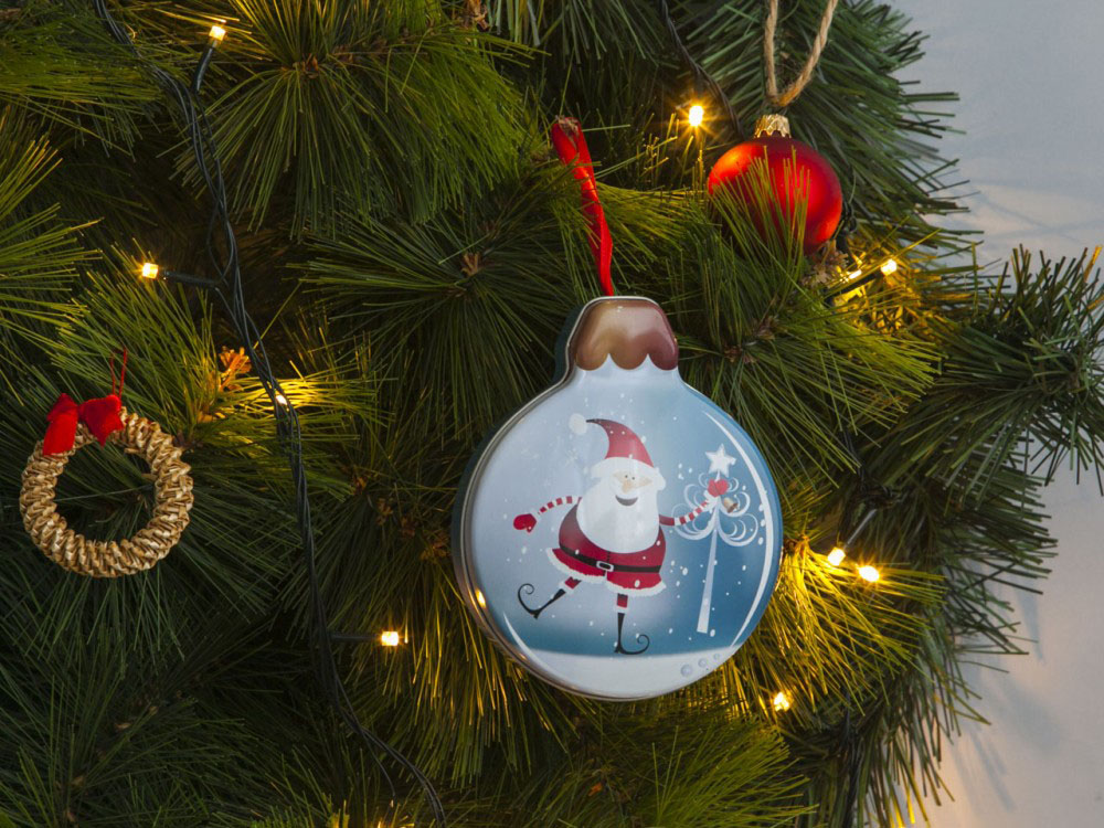 Christmas pendant tin box,13,7x11x4,3cm stone blue santa claus design