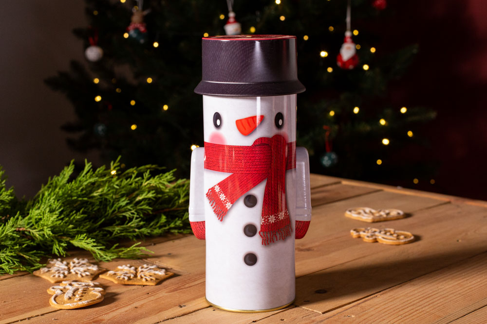 Small round tin with cover snowman design 8,5x24,5 cm