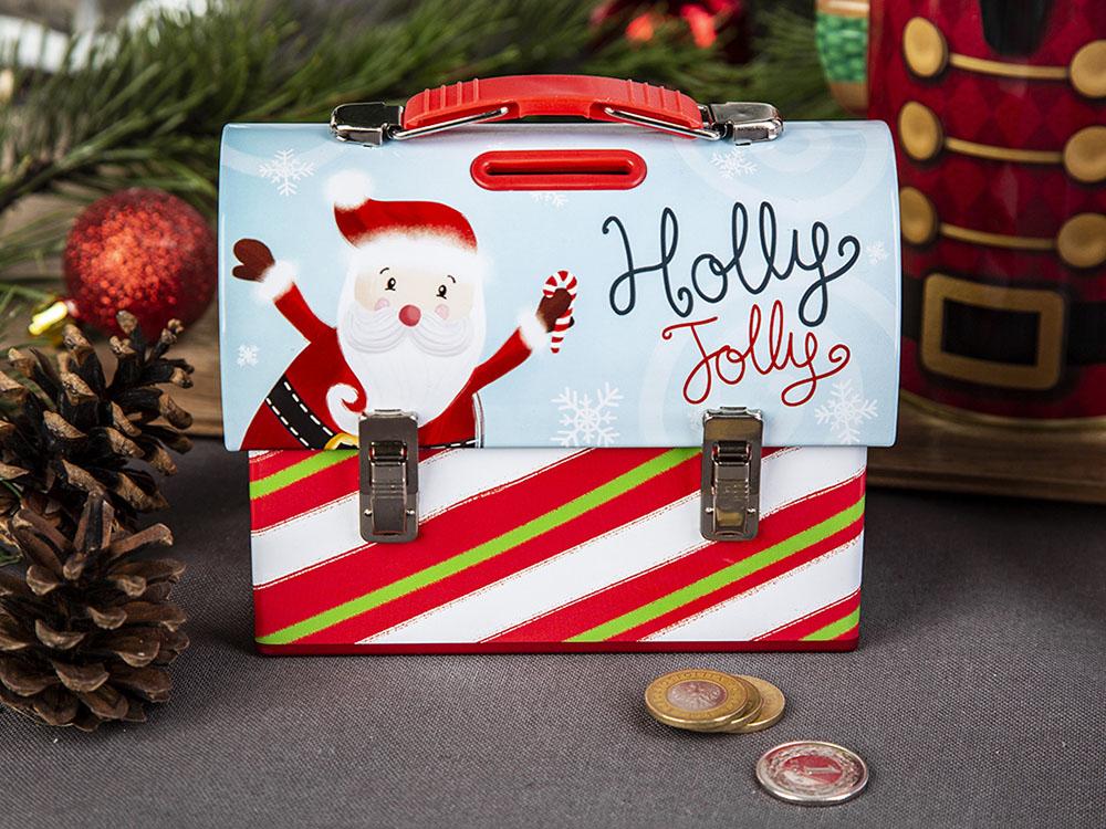 Handbag piggy bank santa design 14x7x10,5 cm