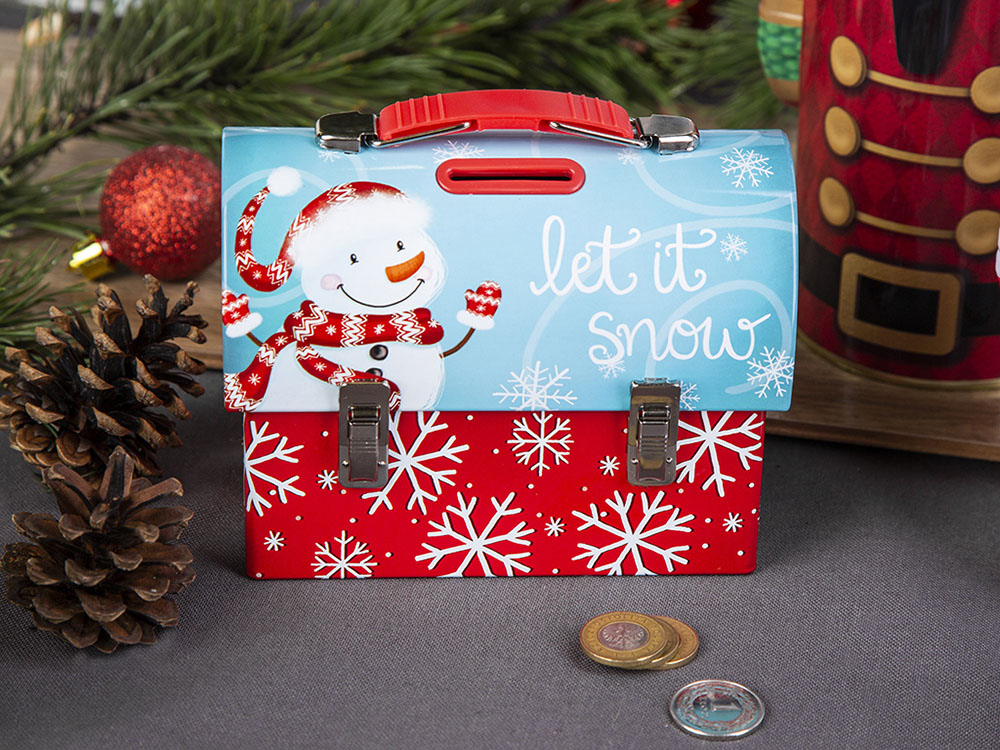Handbag piggy bank snowman design 14x7x10,5 cm