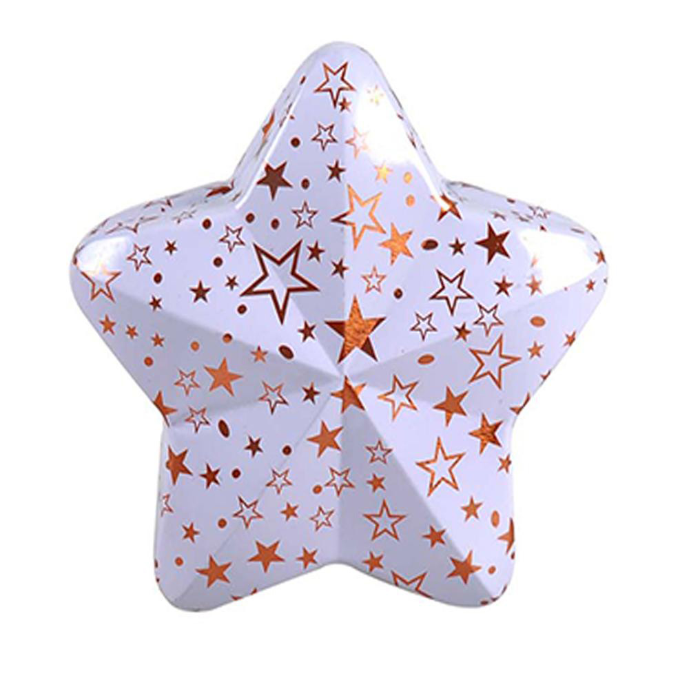 Star shape tin box with hanger 10x9,5x3 cm