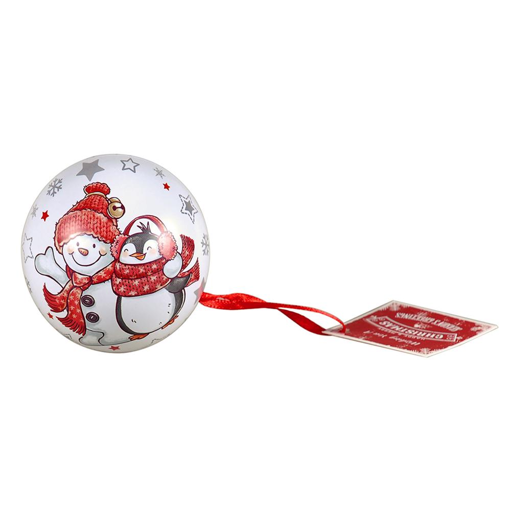 Christmas tin ball with hanger 6,5 cm