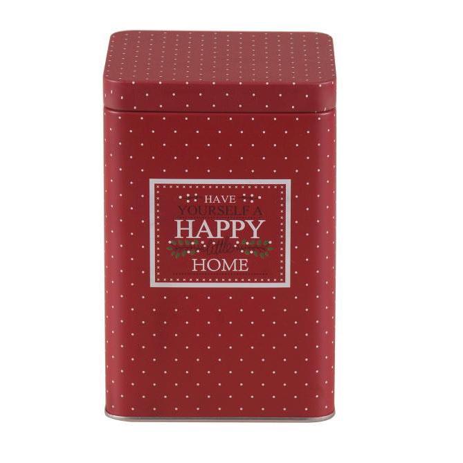 Puszka / pojemnik na kawę / herbatę / cukier / produkty sypkie z pokrywą kwadratowa Altom Design Victoria Home bordowa