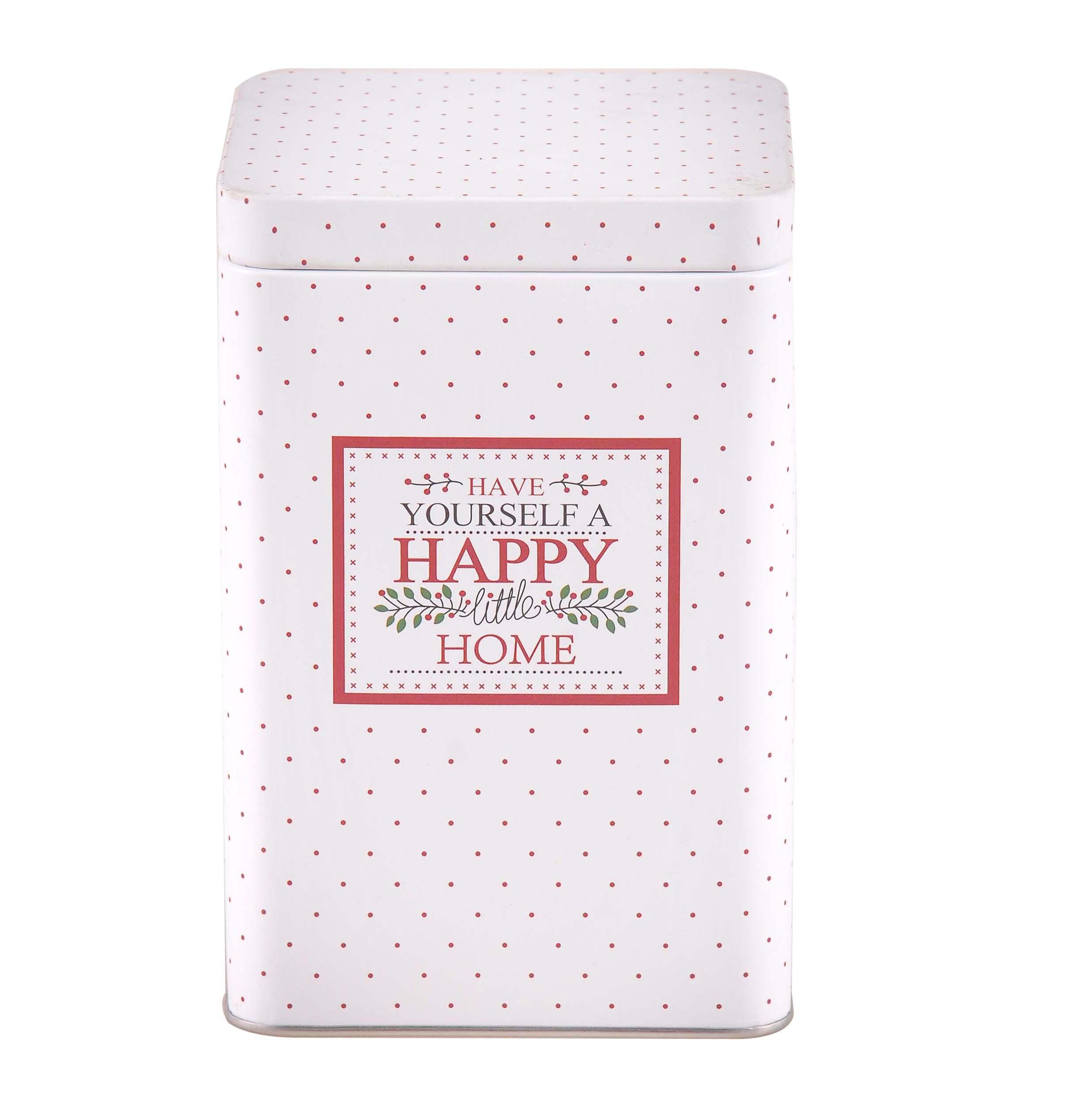 Puszka / pojemnik na kawę / herbatę / cukier / produkty sypkie z pokrywą kwadratowa Altom Design Victoria Home biała