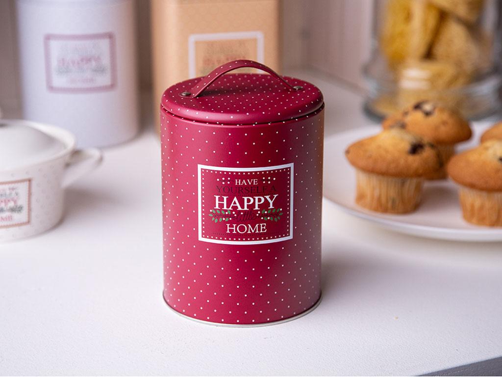 Puszka / pojemnik na kawę / herbatę / cukier / produkty sypkie z pokrywą i uchwytem okrągła Altom Design Victoria Home bordowa
