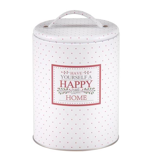 Puszka / pojemnik na kawę / herbatę / cukier / produkty sypkie z pokrywą i uchwytem okrągła Altom Design Victoria Home biała