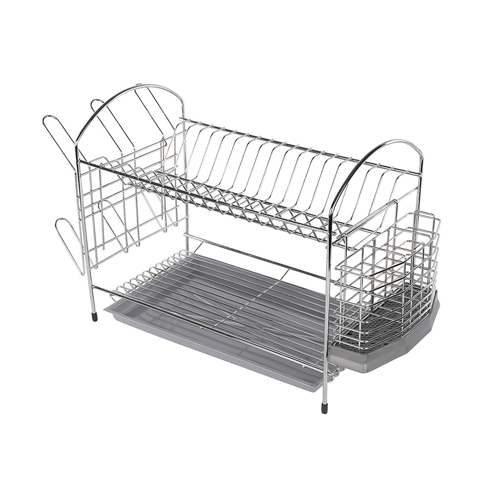 Dish drainer 2-level 40cm with drainer and tray chrome