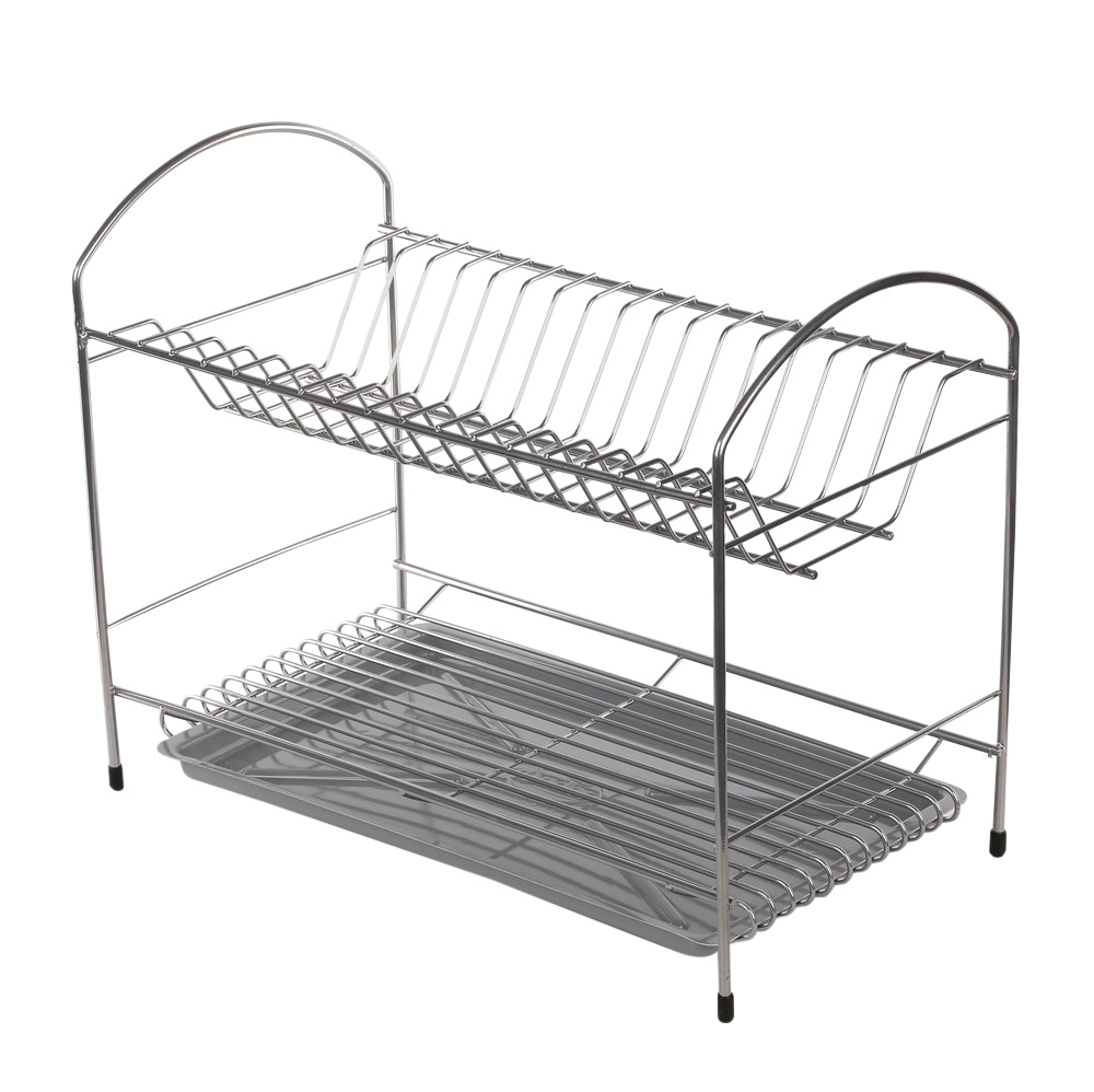 Dish drainer 2-level 40cm with tray silver