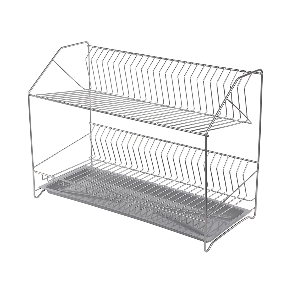 Dish drainer 2-level 50cm with tray silver
