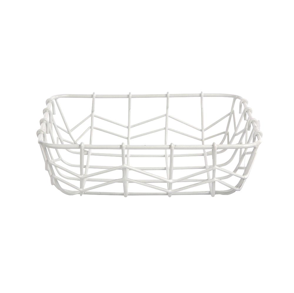Koszyk / Koszyczek na pieczywo i owoce metalowy kwadratowy Altom Design Biały 25x25x8 cm
