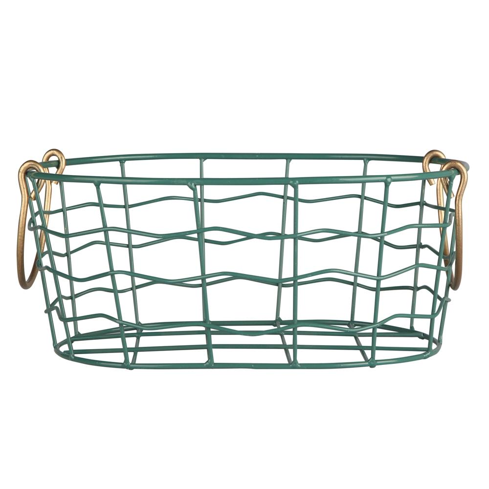 Koszyk metalowy / druciany do przechowywania Altom Design owalny ze złotymi uchwytami 29,5x21x11 cm