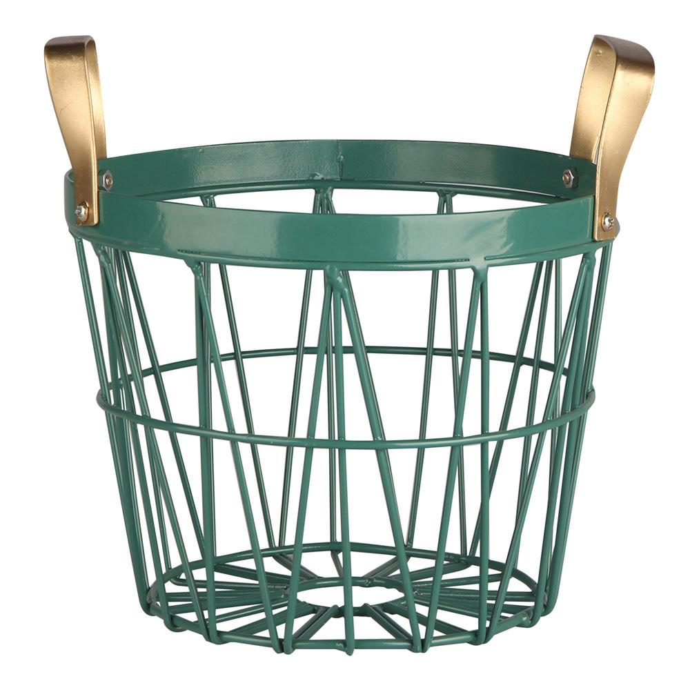Koszyk metalowy / druciany do przechowywania Altom Design okrągły ze złotymi uchwytami 24x21x15 cm
