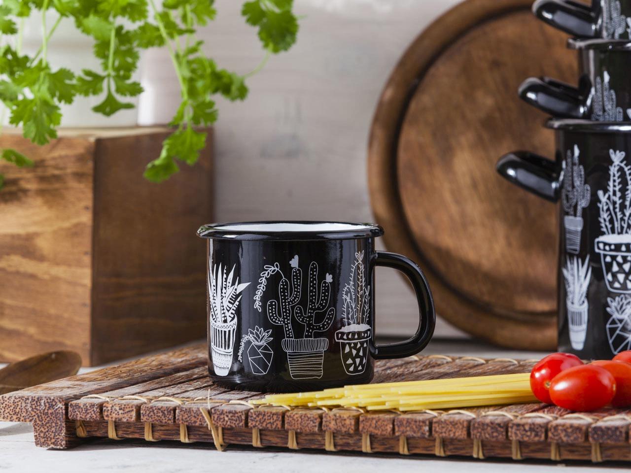 Kubek emaliowany Silesia Rybnik Cactus czarny 0,45 l