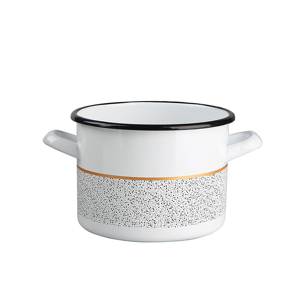 Garnek emaliowany na gaz i indukcję Silesia Rybnik Granit 1,65 l biały