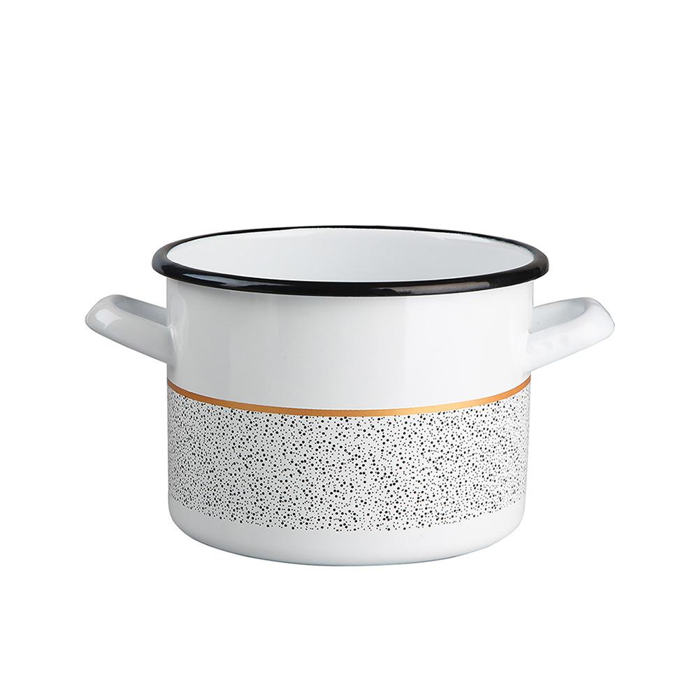 Garnek emaliowany na gaz i indukcję Silesia Rybnik Granit 2,4 l biały