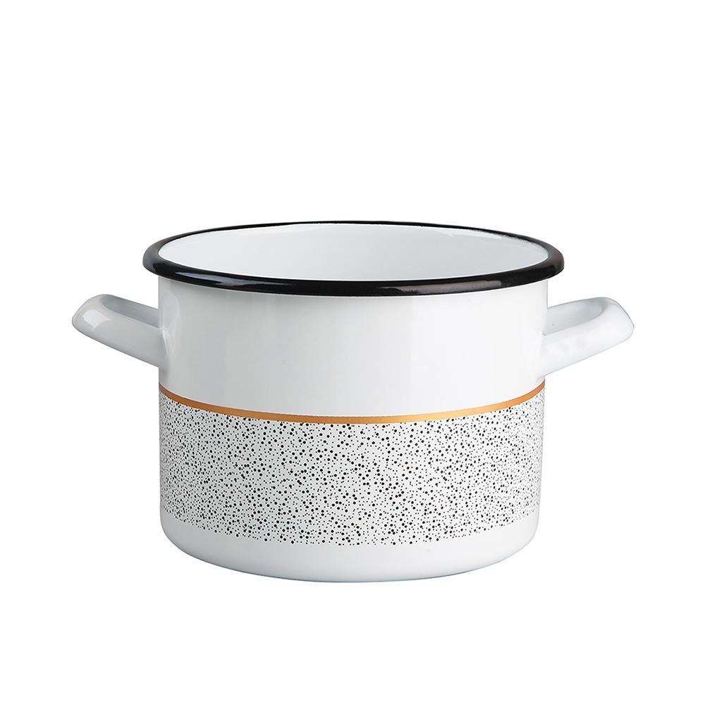 Garnek emaliowany na gaz i indukcję Silesia Rybnik Granit 3,6 l biały