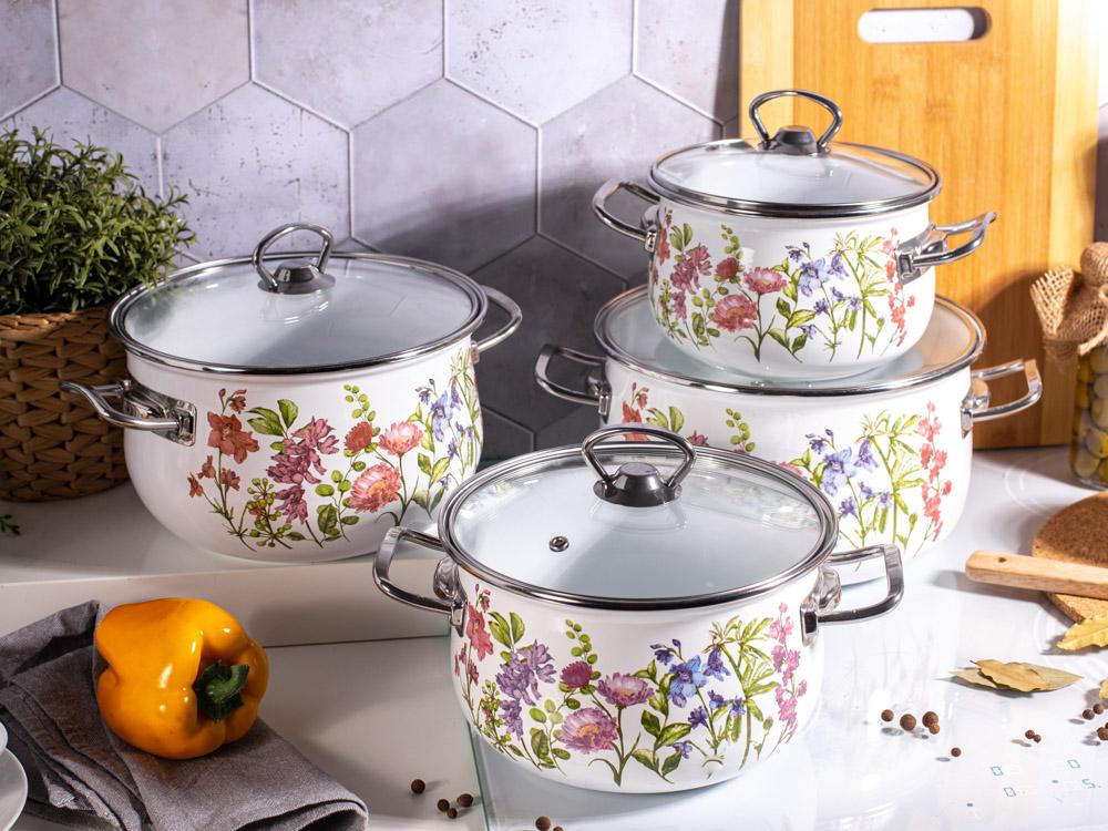 Kate set of 8 enamelled pots 16-22 cm dec. floral