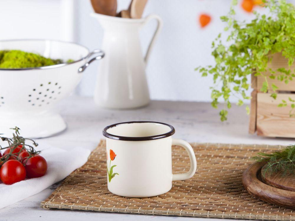 Kubek emaliowany prosty Silesia Rybnik kremowy, tulipany 0,45 l