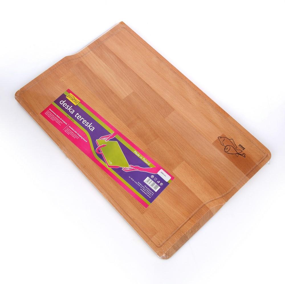 Deska do krojenia Tereska drewniana 44 cm z listkiem