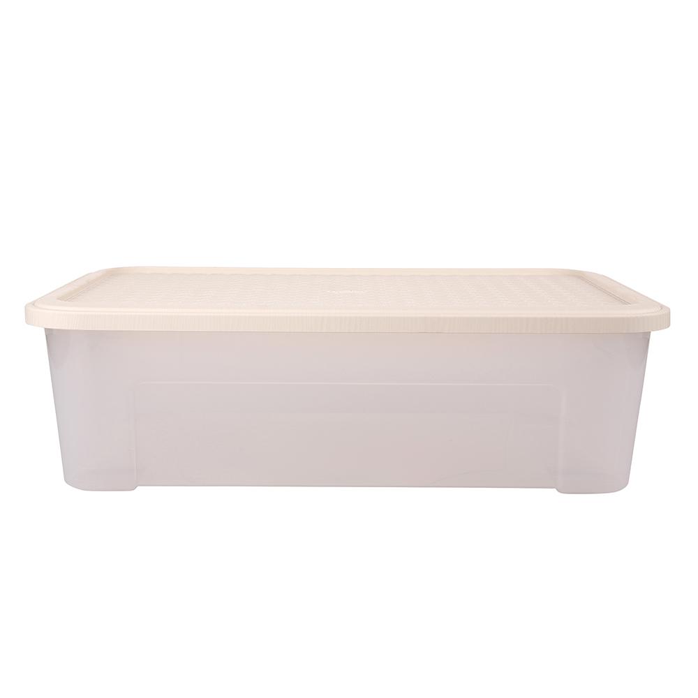 Pojemnik do przechowywania rzeczy Tontarelli Combi Box z pokrywką Arianna Kremowy 58,2x38x18,8 cm / 29,5 l