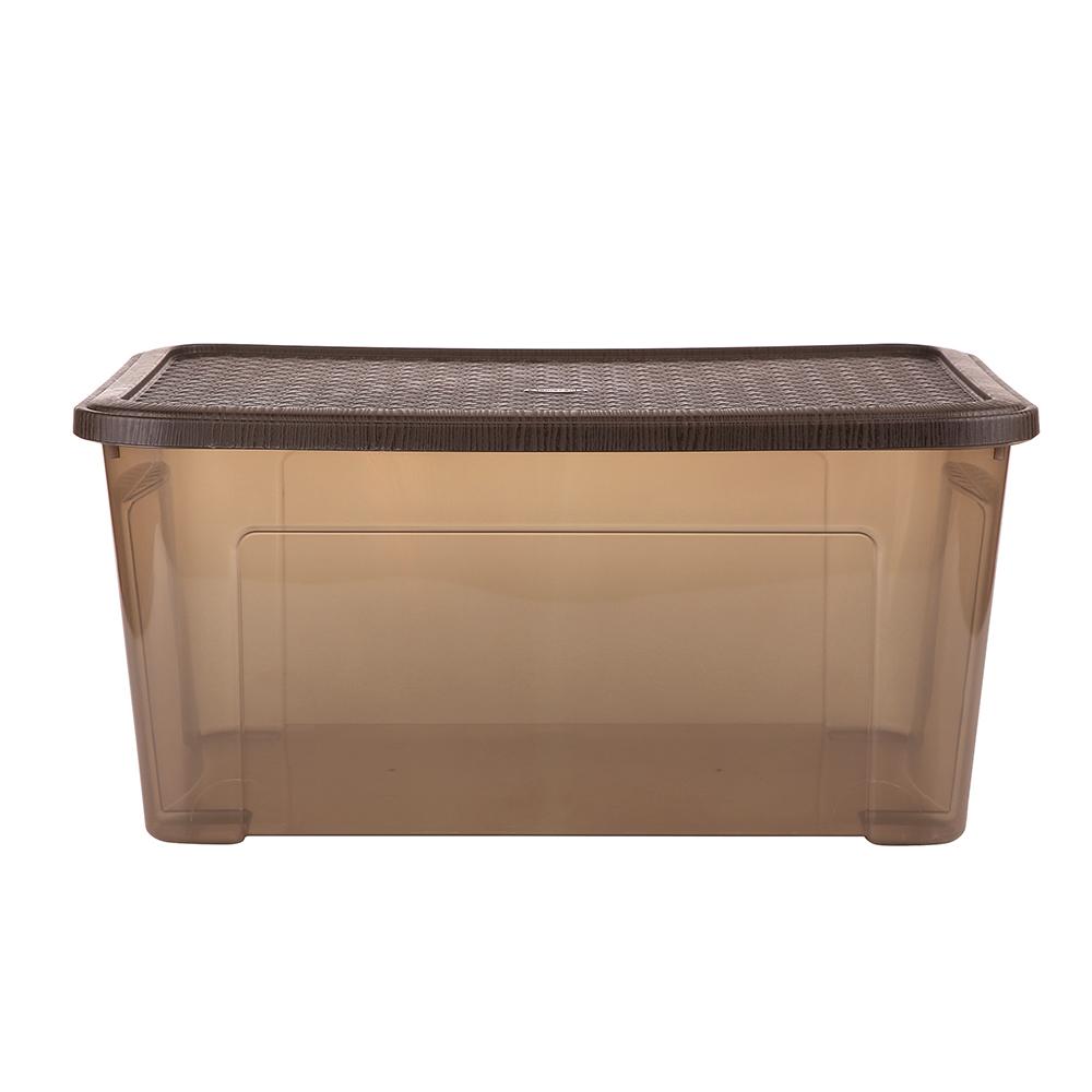 Pojemnik do przechowywania rzeczy Tontarelli Combi Box z pokrywką Arianna Brązowy 58,2x38x27,8 cm / 43 l