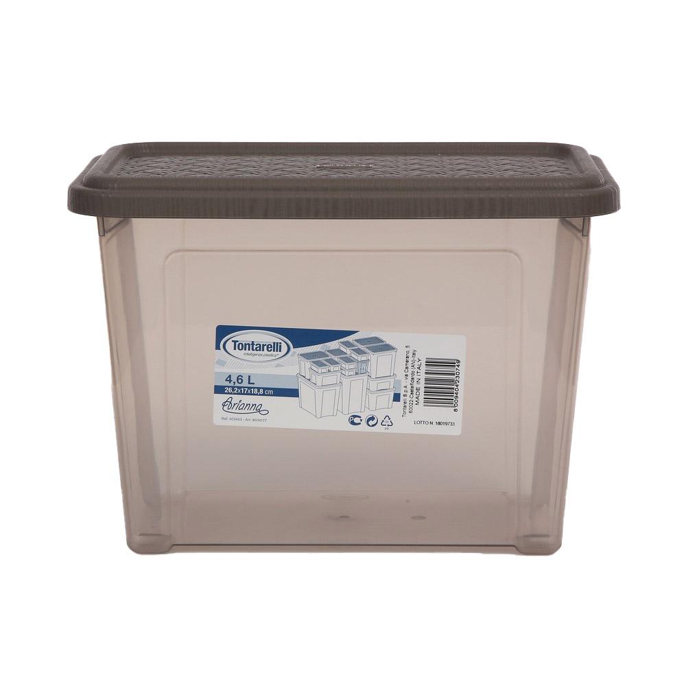 Pojemnik do przechowywania rzeczy Tontarelli Combi Box z pokrywką Arianna Taupe 26,2x17x18,8cm / 4,6 l