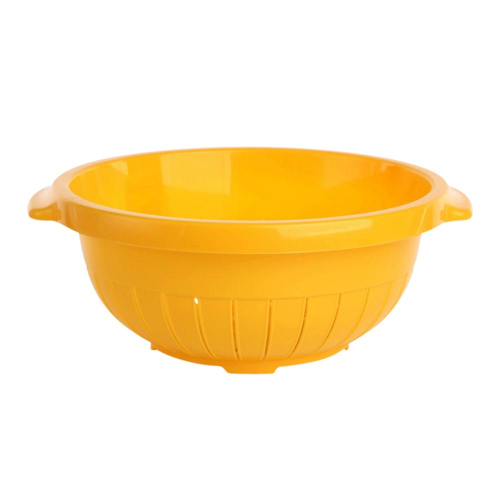 Cedzak / sitko okrągłe z tworzywa sztucznego stojący Tontarelli 27 cm żółty