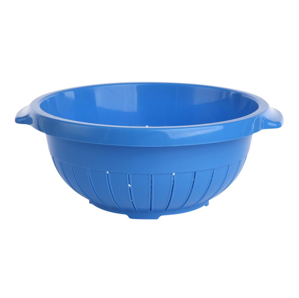 Cedzak / sitko okrągłe z tworzywa sztucznego stojący Tontarelli 27 cm niebieski