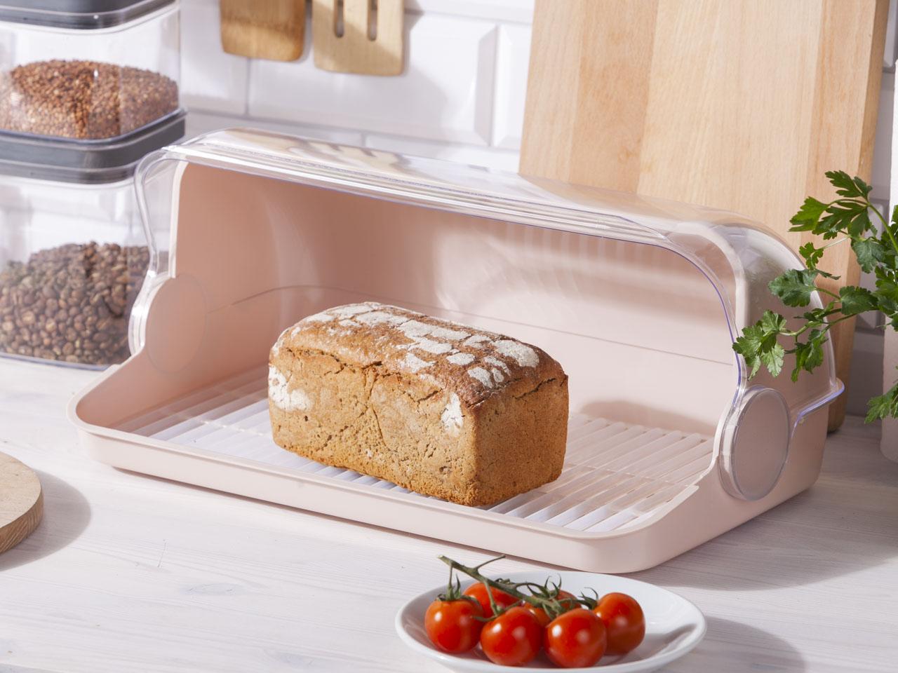 Chlebak / pojemnik na pieczywo z tworzywa sztucznego Lamela Duży jasny beż