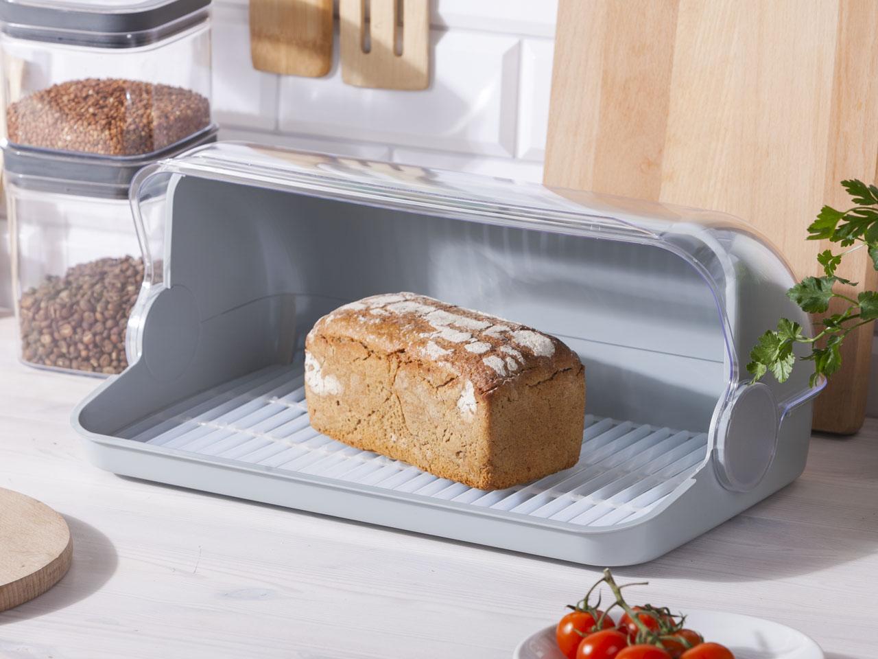 Chlebak / pojemnik na pieczywo z tworzywa sztucznego Lamela Duży jasny szary