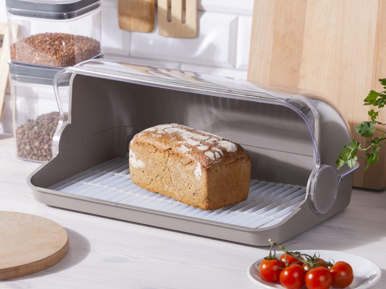 Chlebak / pojemnik na pieczywo z tworzywa sztucznego Lamela Duży taupe