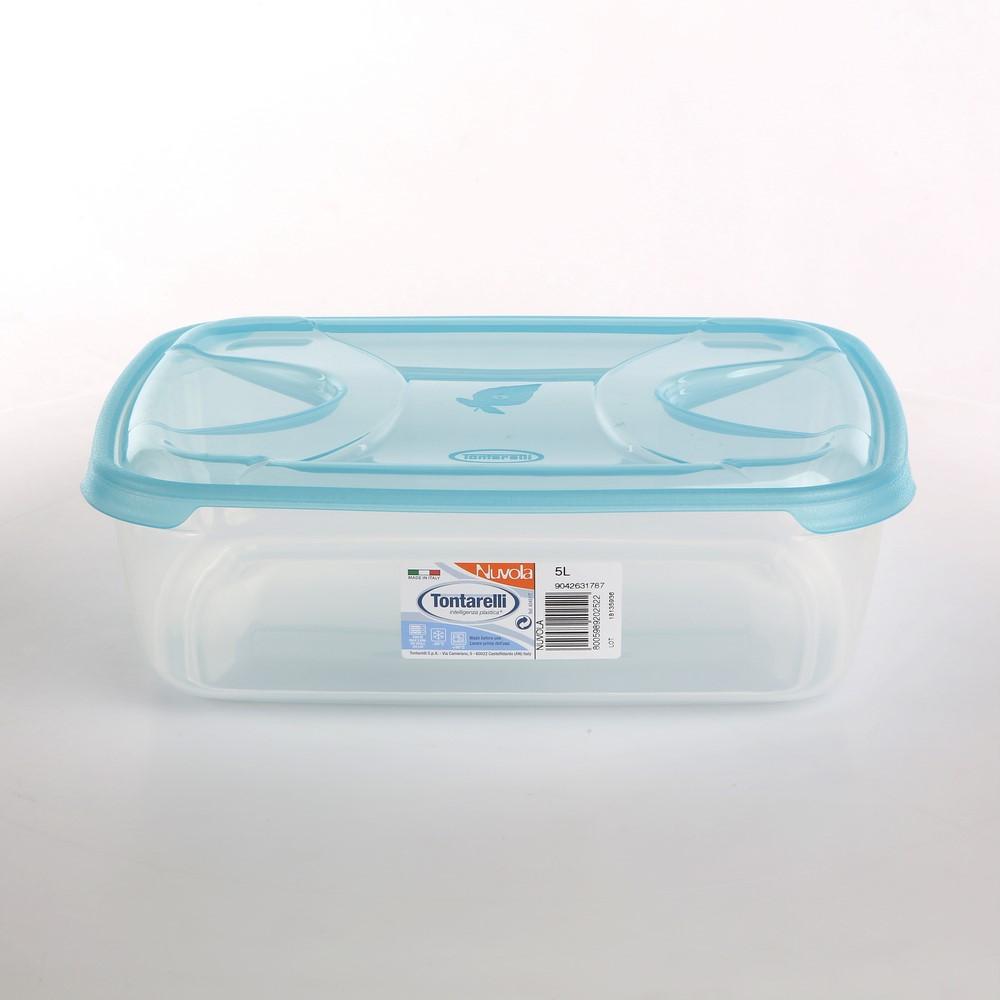 Pojemnik do przechowywania żywności kwadratowy Tontarelli Nuvola Frigo Box 5 l niebieski