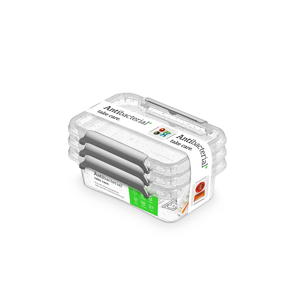 Pojemnik do przechowywania żywności / na żywność / artykuły higieniczne / z pokrywką / Mikrocząstki srebra Orplast Nanobox 350 ml (3 sztuki)