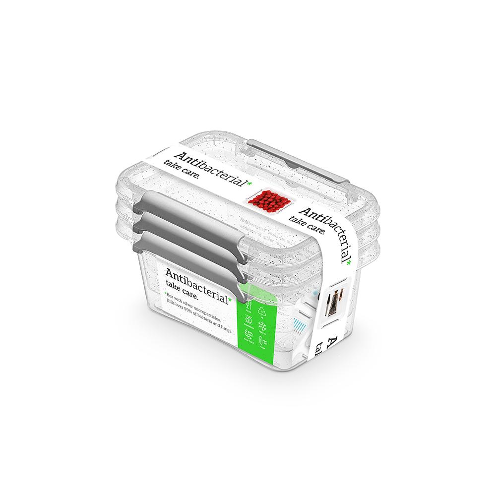 Pojemnik do przechowywania żywności / na żywność / artykuły higieniczne / z pokrywką / Mikrocząstki srebra Orplast Nanobox 500 ml (3 sztuki)