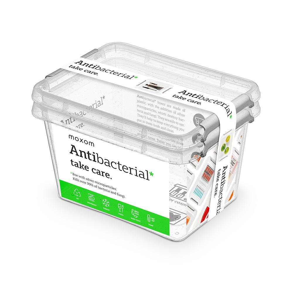 Pojemnik do przechowywania żywności / na żywność / artykuły higieniczne / z pokrywką / Mikrocząstki srebra Orplast Nanobox 2 l (2 sztuki)