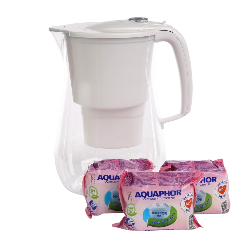 Pitcher water purifier Aquaphor Onyx 4,2l , with three filters magnesium B100-25 Maxfor , white colour