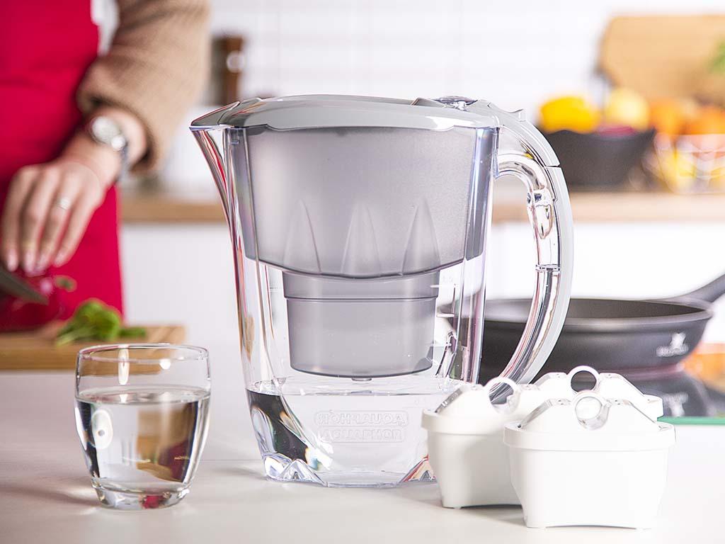 Dzbanek filtrujący wodę Aquaphor Amethyst 2,8 l + 3 wkłady B100-25 szary