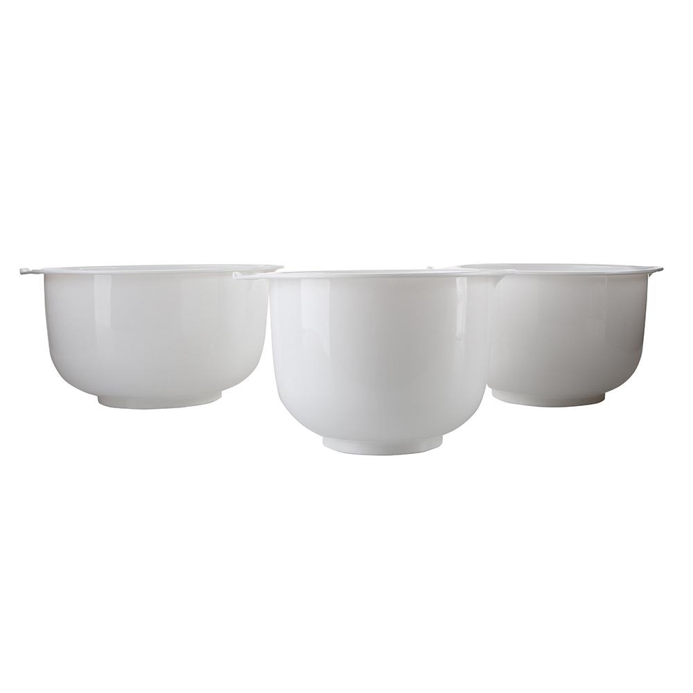 Miski do miksowania / do miksera okrągłe Bentom 3 sztuki białe