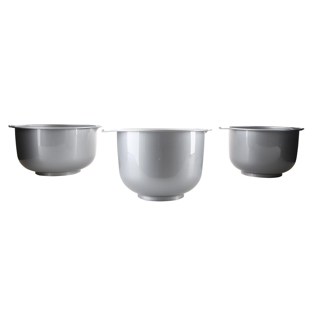 Miski do miksowania / do miksera okrągłe Bentom 3 sztuki srebrne