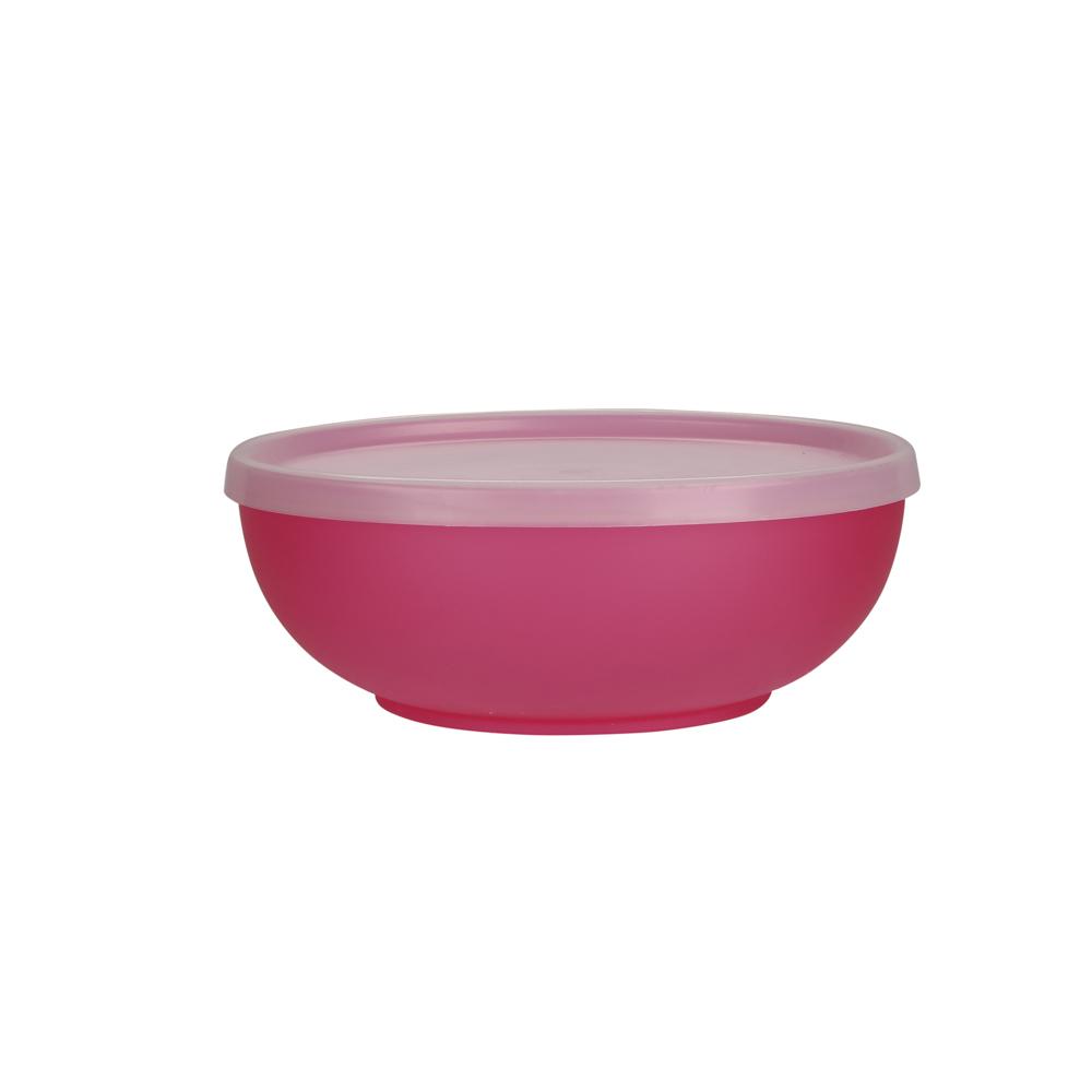 Miseczka z pokrywką z tworzywa sztucznego Sagad Weekend 0,85 l / 17 cm różowa