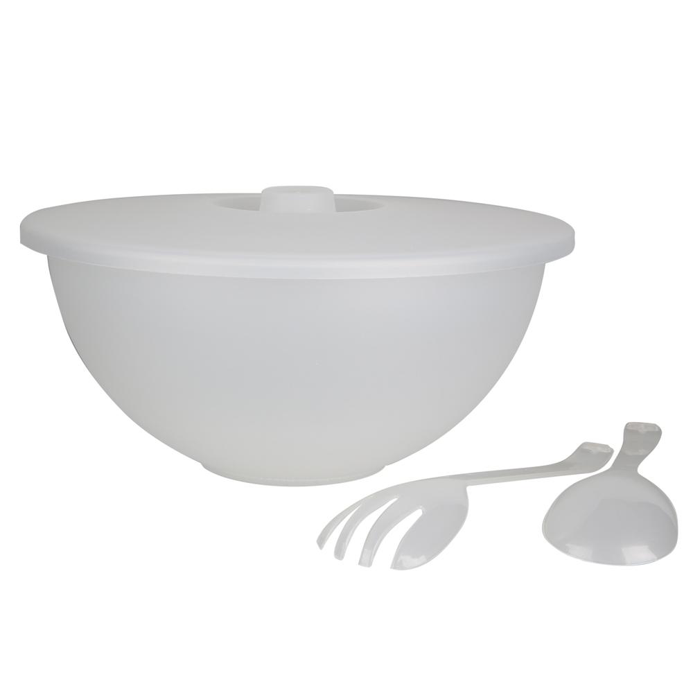 Miska plastikowa z pokrywką + łyżka i widelec do sałaty Sagad 3,6 biała