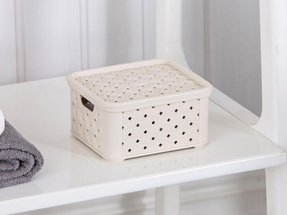Koszyk mały z pokrywą Arianna kremowy