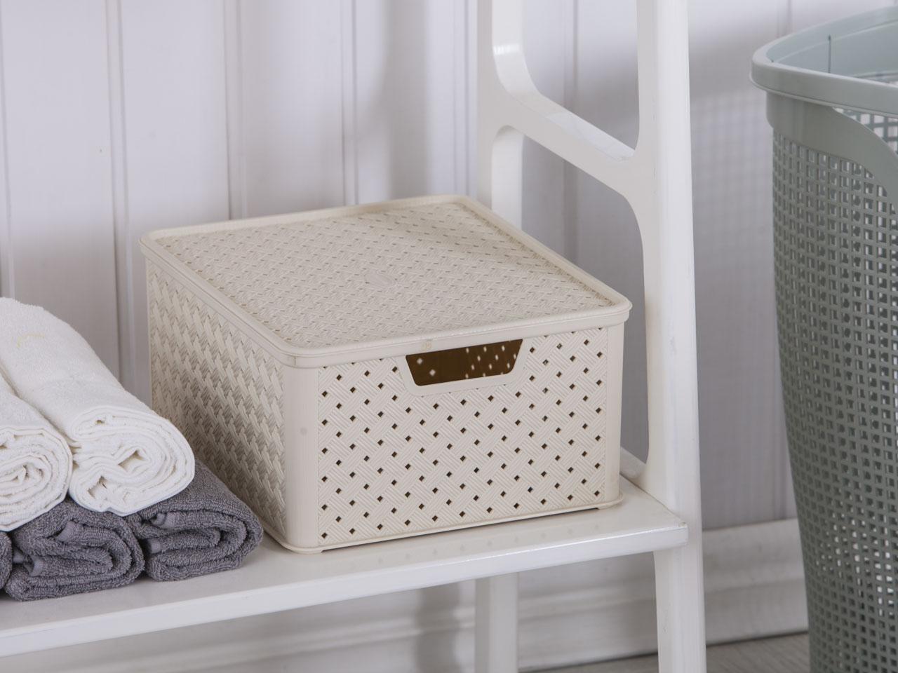 Koszyk / pojemnik do przechowywania duży z pokrywą Tontarelli Arianna 33,2x29x16,5 cm kremowy
